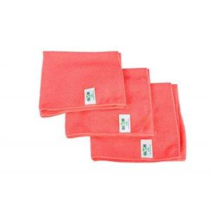 Chiffons en microfibre, 40.5cm x 40.5cm. Rouge. Paquet de 10