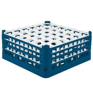 Égouttoir/Range Verres, 36 Cases X-Grandes (Hauteur 19.5CM), Bleu