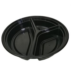 "9"" 3 COMPARTEMENT ROUND CONTAINER WITH CLEAR LID 150 SET/CS"