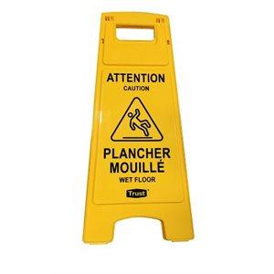 """Affiche """"Plancher mouillé"""" jaune"""