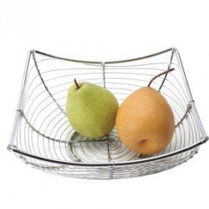 Panier A Pain/Fruit, Chromé, Carré, Diamètre 21 Cm