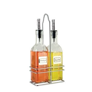 Bottle Set, Oil And Vinegar, 6 Oz, Stainless Steel Spouts