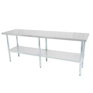 """Table de travail en acier inoxydable avec tablette et pattes en acier galvanisé 84"""" x 24"""" x 34"""""""
