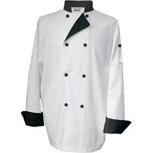 Veste De Cuisinier, Petite Taille, Blanc A Contraste Noir