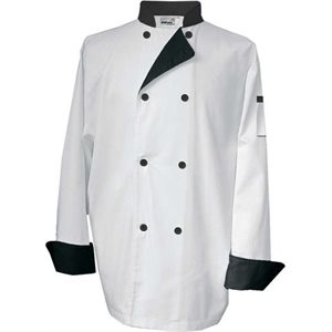Veste De Cuisinier, Extra Large, Blanc A Contraste Noir