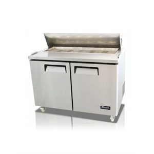 "2 DOOR STANDARD TOP REFRIGERATED SANDWICH PREP TABLE 48"" NO INSERTS INCLUDED"