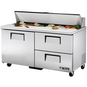Table De Préparation Réfrigérée, 1 Porte/2 Tiroirs/16 Cabinets