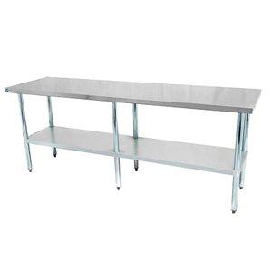 TABLE DE TRAVAIL 24 x 84 EN INOX A/TABLETTE GALV.